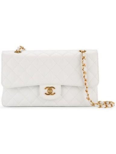CHANEL VINTAGE White leather quilted flap shoulder bag ~ dream handbags