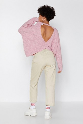 NASTY GAL Chill Out Oversized Sweater in Rose – pink open back jumper