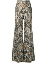 CHLOÉ paisley print flared trousers in shale black | retro pants