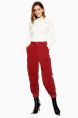 TOPSHOP Chunky Corduroy Trousers in brick – cuffed cord pants
