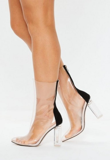 MISSGUIDED clear block heel ankle boots ~ transparent booties