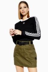 Topshop Clip Belt Utility Denim Skirt in khaki | green mini