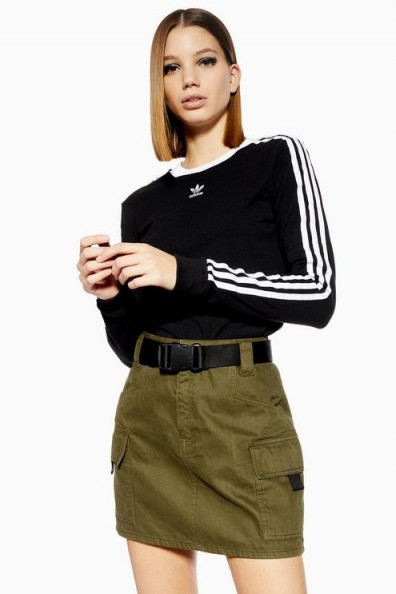 Topshop Clip Belt Utility Denim Skirt in khaki | green mini