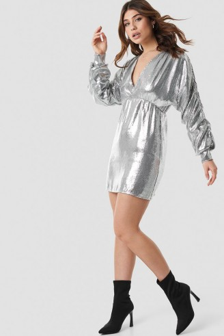 Linn Ahlborg x NA-KD Cocoon Sleeve Dress in Silver ~ metallic going out fashion