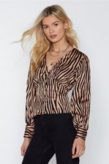 NASTY GAL Copy Cat Tiger Print Blouse in brown – wild animal prints