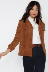NASTY GAL Cord Trucker Jacket in Camel – brown corduroy jackets – casual style