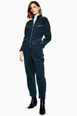 TOPSHOP Corduroy Boilersuit in bottle – zip front cord boilersuits