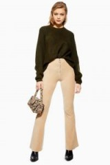 Topshop Corduroy Zip Flared Trousers in Oatmeal | neutral cords