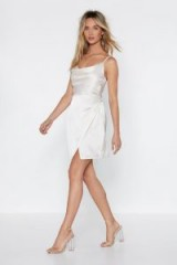 Nasty Gal Cowl About Mini Dress in cream – strappy going out fashion