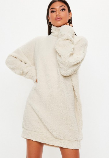 MISSGUIDED cream borg high neck sweat dress ~ for slouchy days