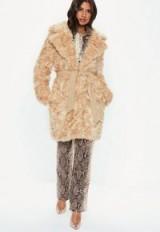 MISSGUIDED cream premium faux fur tie waist wrap coat – luxe style winter coats