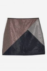 TOPSHOP Crystal A-Line Denim Skirt / front embellished mini