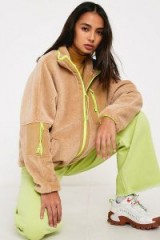 UO Camel + Fluorescent Zip-Through Teddy Jacket in Beige multi