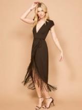 Reformation Dali Dress in Black | fringed hemline dresses | plunging necklines