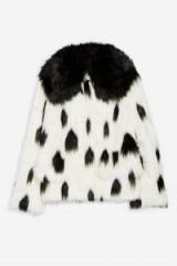 Topshop Dalmation Print Faux Fur Coat in Monochrome | black and white winter jacket