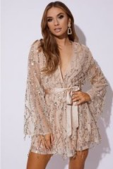 DANI DYER GOLD TASSEL SEQUIN WRAP DRESS ~ luxe going out look