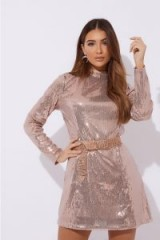 IN THE STYLE DANIEH ROSE GOLD LONG SLEEVE SEQUIN MINI DRESS ~ going out luxe/glamour