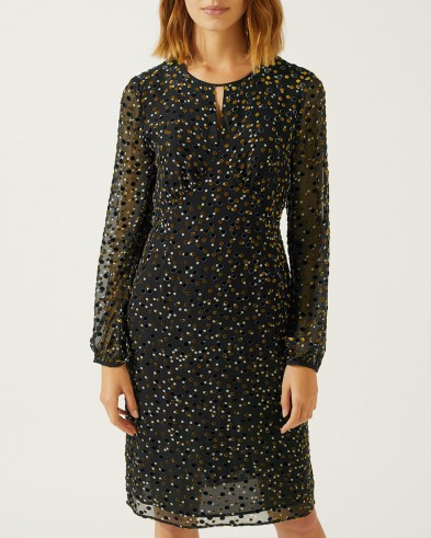 Jigsaw DEVORÉ VELVET SPOT EMPIRE LINE DRESS – sheer sleeved evening dresses