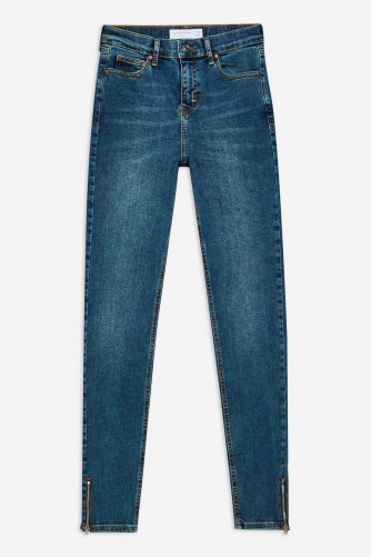 Topshop Dirty Zip Hem Jamie Jeans in dirty denim | blue skinnies with ankle zips