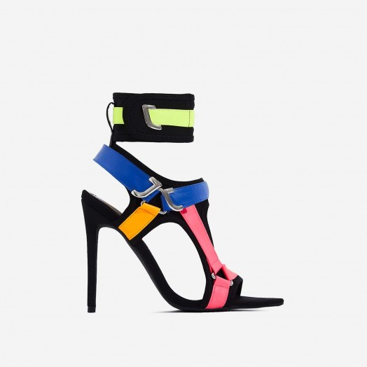 EGO Dive-In Pointed Cage Heel In Black Lycra ~ strappy colourblock heels