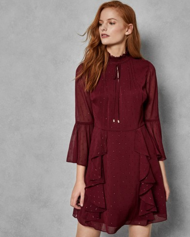 TED BAKER HALEAT Dobby ruffle skirt dress in maroon / high neck, flared sleeve party dresses