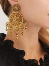 OSCAR DE LA RENTA Dreamcatcher gold-tone beaded clip-on earrings