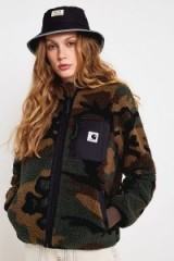 Carhartt WIP Janet Fleece Zip-Through Jacket in Green Multi | plush camo jackets