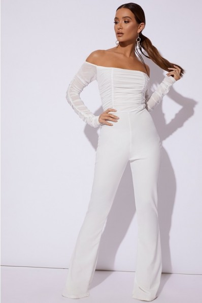 IN THE STYLE EIVI WHITE RUCHED BARDOT JUMPSUIT ~ party glamour