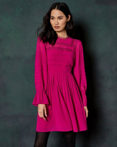 Ted Baker ARREBEL Embroidered volume sleeve dress in bright pink