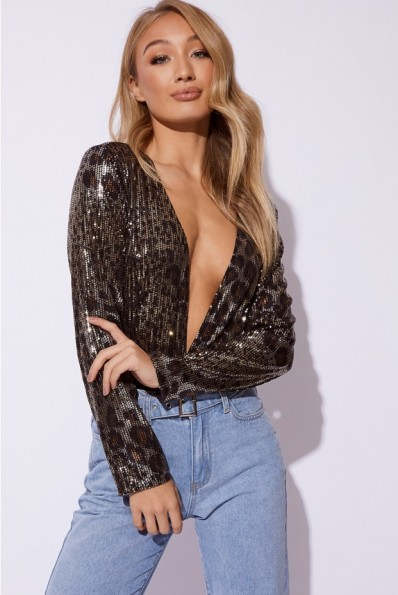 EMILY SHAK BLACK AND GOLD LEOPARD SEQUIN PLUNGE BODYSUIT ~ extreme plunging bodysuits