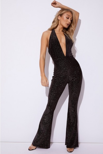 EMILY SHAK BLACK GLITTER VELVET PLUNGE HALTERNECK JUMPSUIT ~ halter party fashion