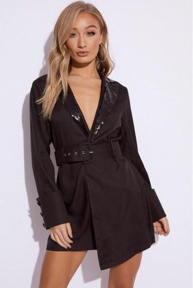 EMILY SHAK BLACK SEQUIN LAPEL BLAZER DRESS ~ glamorous tuxedo dress - flipped
