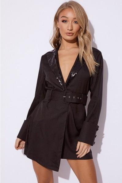 EMILY SHAK BLACK SEQUIN LAPEL BLAZER DRESS ~ glamorous tuxedo dress