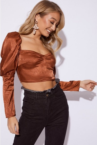 EMILY SHAK COPPER SATIN PUFF SLEEVE CROP TOP ~ going out tops