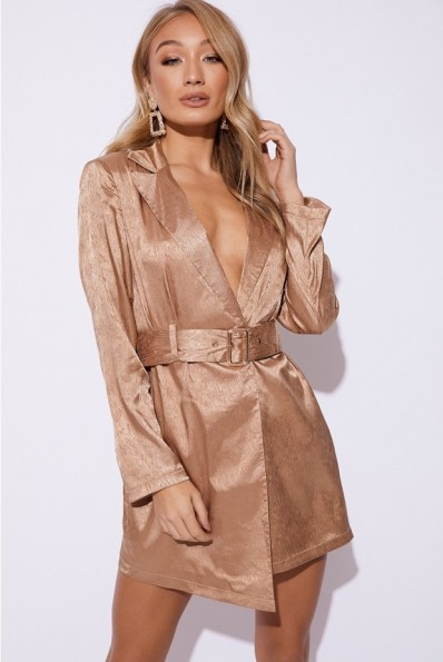 EMILY SHAK GOLD SATIN BELTED BLAZER DRESS ~ plunging party dress