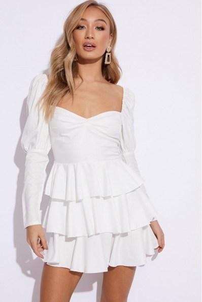 EMILY SHAK WHITE PUFF SLEEVE TIERED MINI DRESS ~ party dresses - flipped