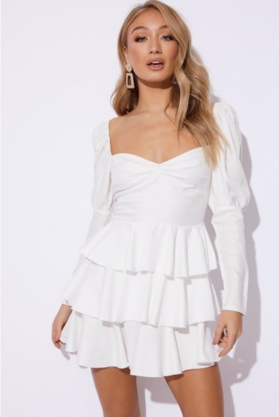 EMILY SHAK WHITE PUFF SLEEVE TIERED MINI DRESS ~ party dresses