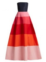 CAROLINA HERRERA Striped faille strapless gown