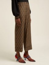FENDI FF logo-print brown silk trousers / silky designer pants