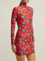 VETEMENTS Floral-print stretch-jersey mini dress red – high neck bodycon