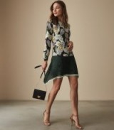 FLORAN FLORAL PRINTED DRESS in GREEN ~ effortless evening style