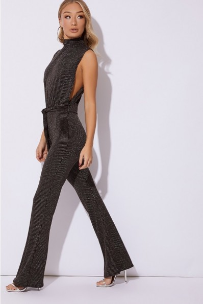 IN THE STYLE FRANKI BLACK GLITTER HIGH NECK TIE WAIST JUMPSUIT – glamorous party fashion