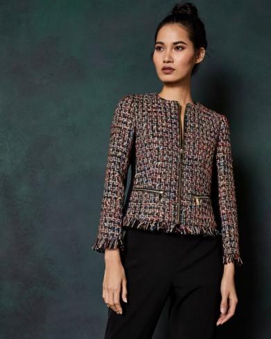 Ted Baker LORELLA Frayed boucle zip jacket in black – tweed jackets