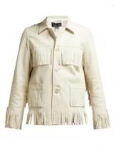 NILI LOTAN Frida ivory fringed leather jacket
