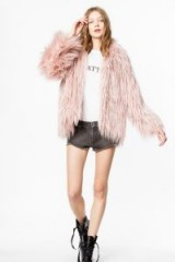 Zadig & Voltaire MANTEAU FRIDY in pink ~ long hair faux fur coat