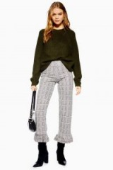 TOPSHOP Frill Hem Trousers Monochrome / cropped check print pants