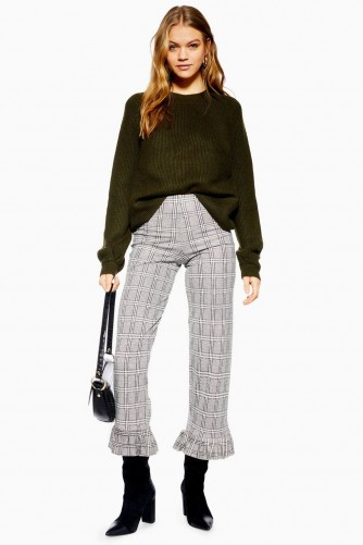 TOPSHOP Frill Hem Trousers Monochrome / cropped check print pants
