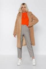 NASTY GAL Fur-get Me Not Faux Fur Coat in Beige – light brown winter coats