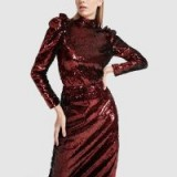G. Label CHARLOTTE SEQUIN TOP in garnet ~ red ruffled sequined blouse