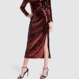 G. Label FLYNN SEQUIN SKIRT in garnet ~ red sequined event skirts
